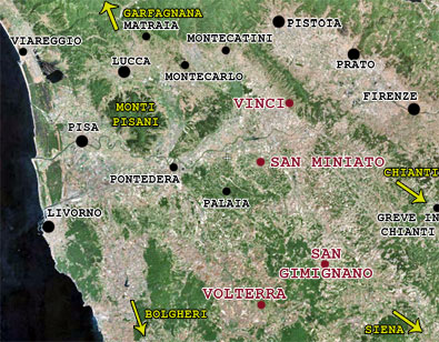 tuscany villages tour map